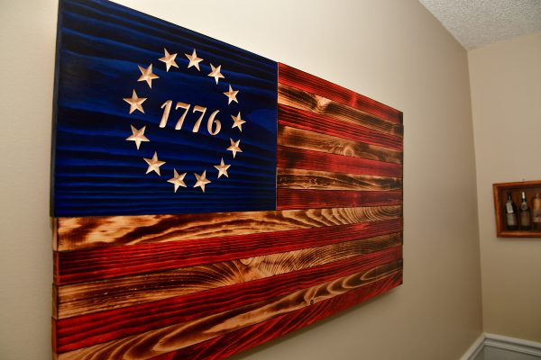 betsy ross American wooden flag