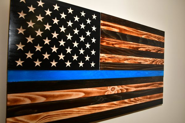 law enforcement American wooden flag