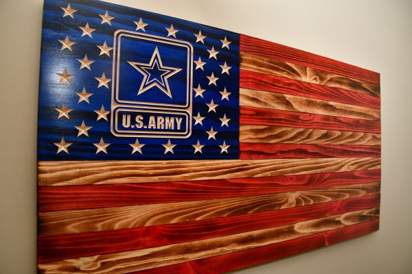 rustic army wooden flag